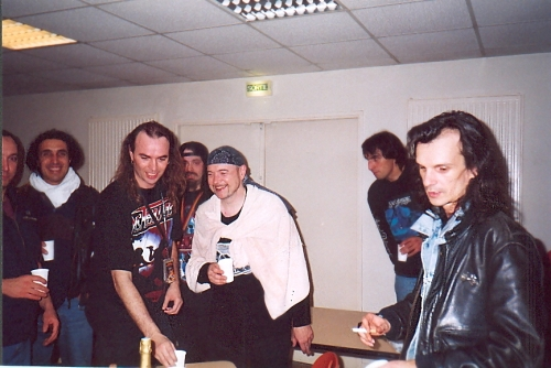 Christophe Bailet (right) with metal legends Saxon and Nightmare
